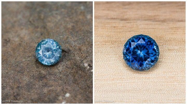 Đá sapphire trước và sau khi xử lý