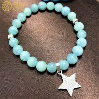 Vòng tay đá Aquamarine 8 ly mix ngôi sao bằng bạc cho nữ