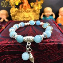 Vòng tay đá Aquamarine tự nhiên mix bạc sang trọng cho nữ