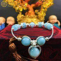 Vòng đá Aquamarine 8 ly tự nhiên phối bạc cho nữ