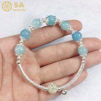 Vòng đá Aquamarine tự nhiên phối bạc cho nữ