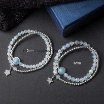 Vòng đá mặt trăng 6 ly mix aquamarine và ngôi sao bạc