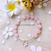 Vòng đá thạch anh hồng 8 ly mix bông hoa bạc