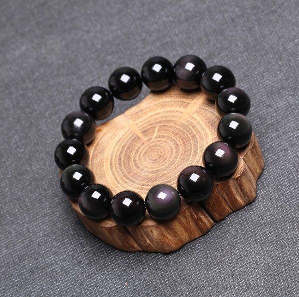 Vòng đá Obsidian đen tự nhiên - mệnh Thủy và mệnh Mộc