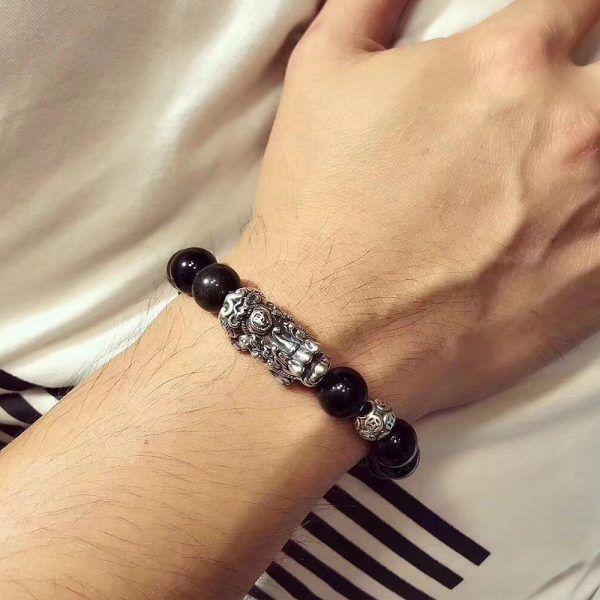 Vòng tay đôi đá obsidian mix tỳ hưu bạc thái 925