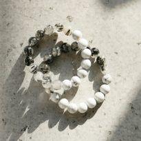 Vòng tay đôi đá bạch tùng mix thạch anh tóc đen tự nhiên