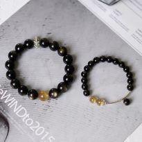 Vòng tay đôi đá obsidian mix thạch anh tóc vàng (2 sản phẩm)