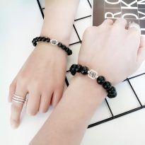 Vòng tay đôi đá obsidian mix thạch anh tóc đen