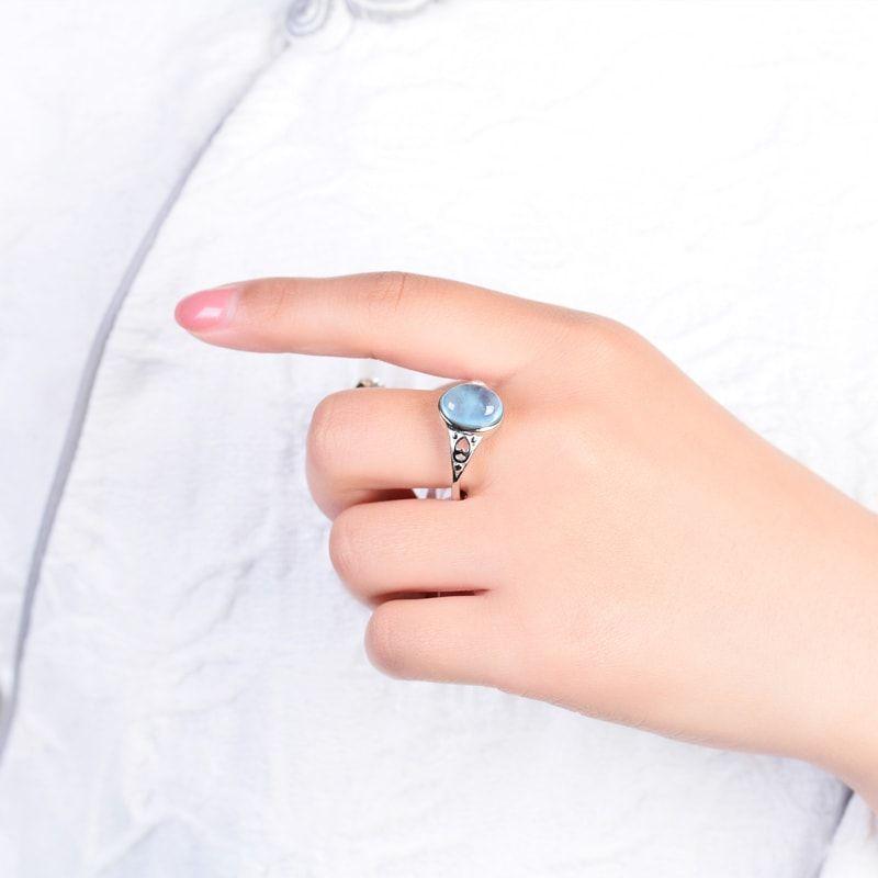 Nhẫn bạc đính đá Aquamarine Ngọc Xanh Biển