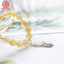 Vòng đá thạch anh tóc vàng mix bạc mẫu mới 2020 - TATV8M61