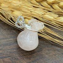 Túi tiền đá Thạch anh hồng (Rose Quartz) tự nhiên - Thu hút tiền tài