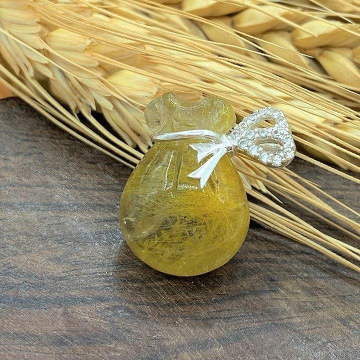 Túi tiền Thạch anh tóc vàng (Rutilated Quartz)- Thu hút tiền tài