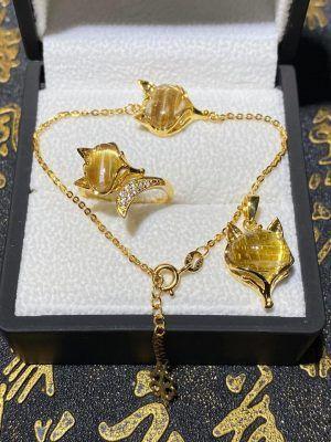 Bộ trang sức vàng mặt hồ ly đá thạch anh tóc vàng vongda5a.com
