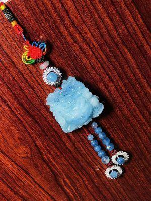 Dây treo oto tượng di lặc đá aquamarine