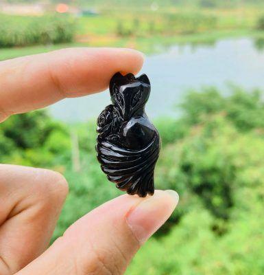 Hồ ly thạch anh đen dáng dài ôm hoa vongda5a.com