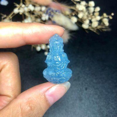 Mặt phật bà đá aquamarine