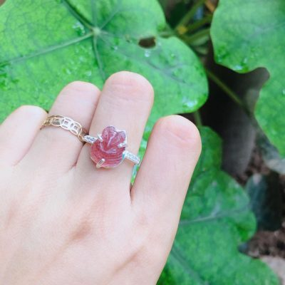 Nhẫn bạc hồ ly thạch anh dâu tây vongda5a.com