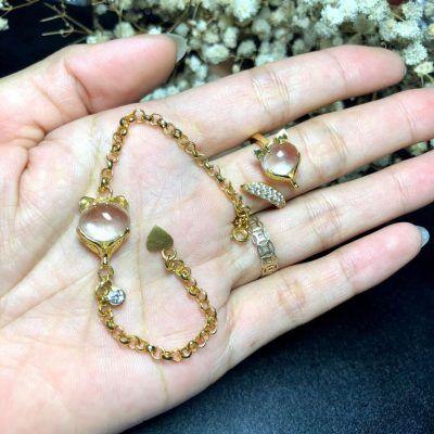 Nhẫn và lắc vàng mặt hồ ly đính đá thạch anh trắng vongda5a.com